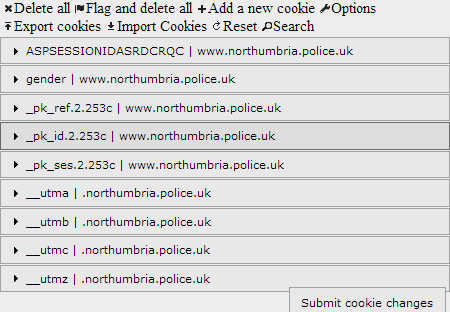 Northumbria Police Cookies